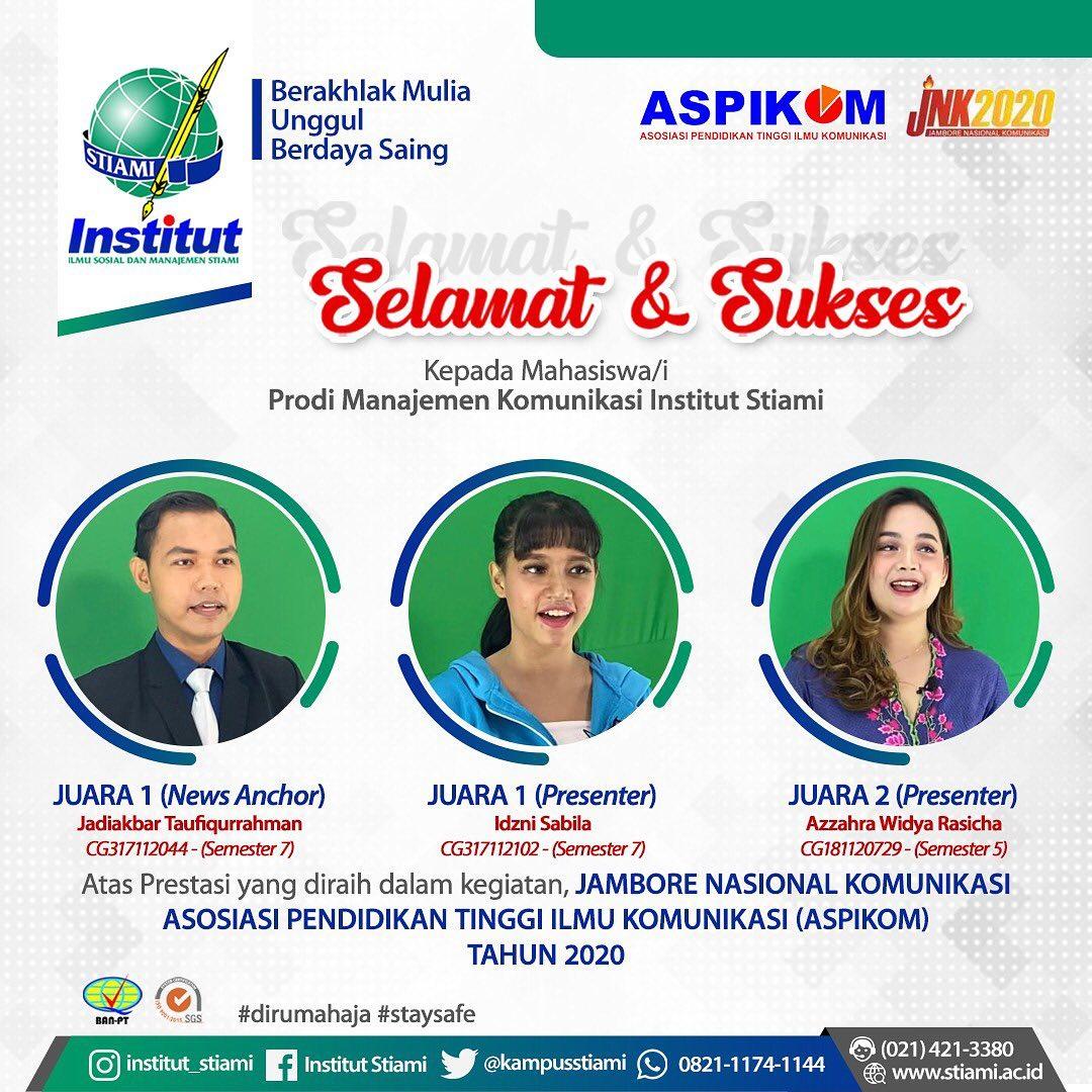 Mahasiswa Manajemen Komunikasi Institut STIAMI Meraih  Juara 1 (News Anchor) , Juara 1 dan 2 (Presenter) di Jambore Nasional Komunikasi ASPIKOM 2020